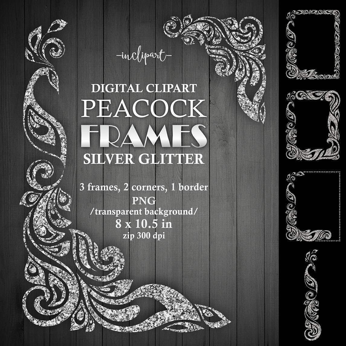 White glitter 3 clipart graphic royalty free stock Peacock frame clipart. Silver glitter frame, corner, border ... graphic royalty free stock