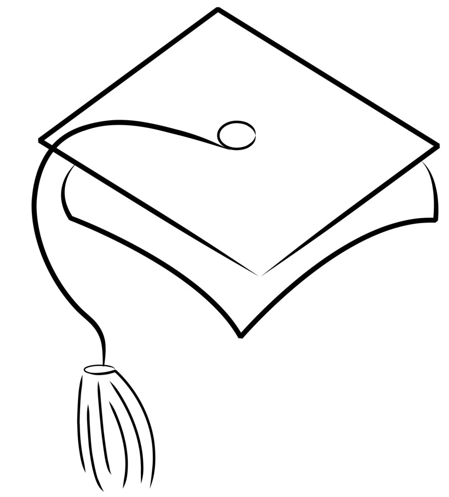 White graduation hat clipart picture transparent library Graduation cap clipart black and white clipartfest ... picture transparent library