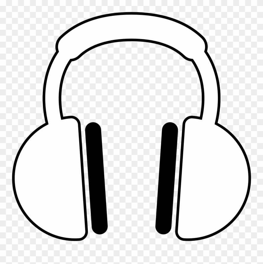 White headphone clipart transparent background graphic free Music Black And White Listening To Music Clipart Black ... graphic free