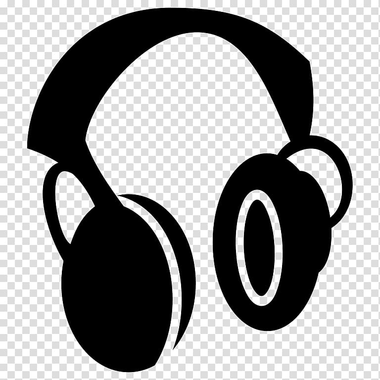 White headphone clipart transparent background jpg black and white Black headphones graphic art, Headphones Computer Icons ... jpg black and white