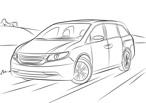 White honda odyssey clipart clip art black and white library Honda Odyssey coloring page | Free Printable Coloring Pages clip art black and white library
