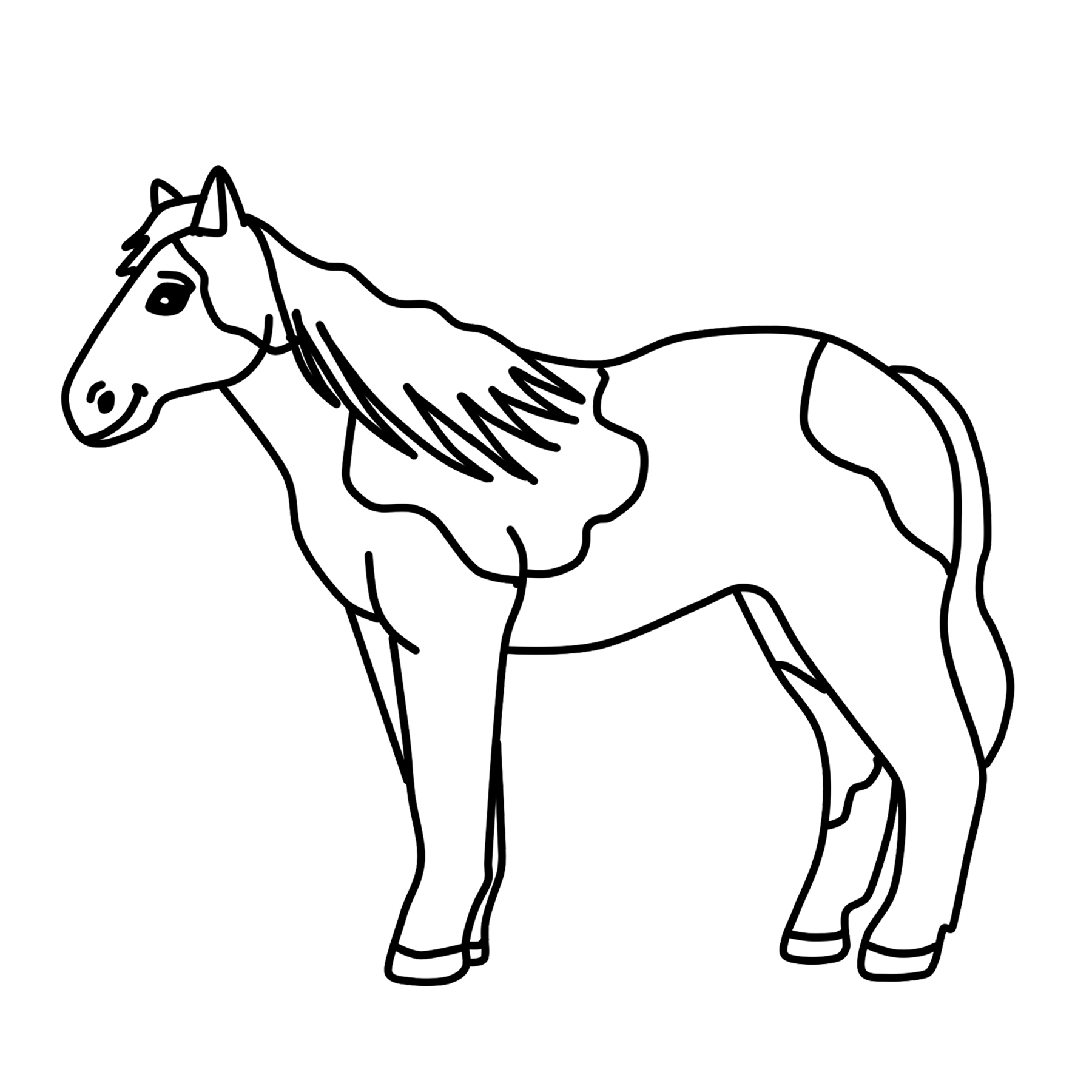 White horse black horse clipart vector freeuse stock Horse Drawing Black And White | Free download best Horse ... vector freeuse stock