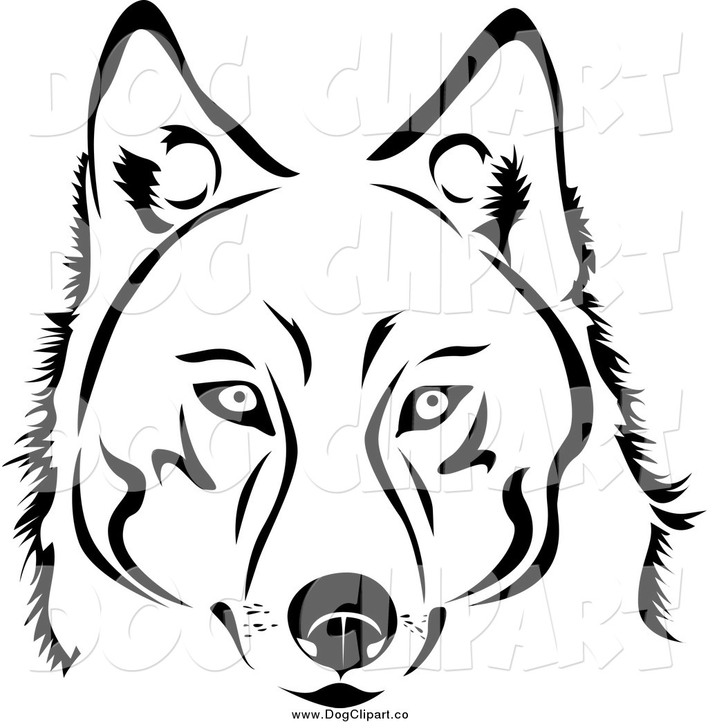 White husky clipart vector royalty free library Vector Clip Art of a Face of a Black and White Husky Dog by ... vector royalty free library