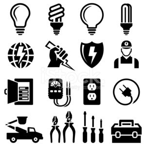 White icon set clipart vector free download Electrician Equipment for Outlet Repair Black & White Icon ... vector free download