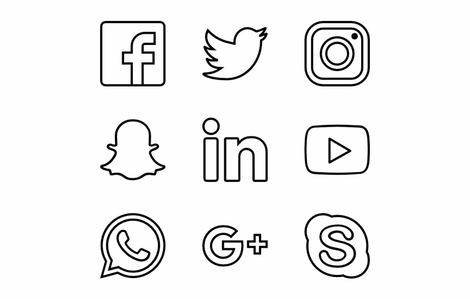 Social media icons clipart black and white svg black and white Social Media Icons White Png - Social Media Png White Free ... svg black and white