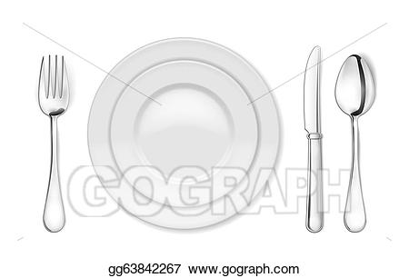 White knife spoon plate clipart stock Stock Illustration - Dinner plate, knife, fork and spoon ... stock