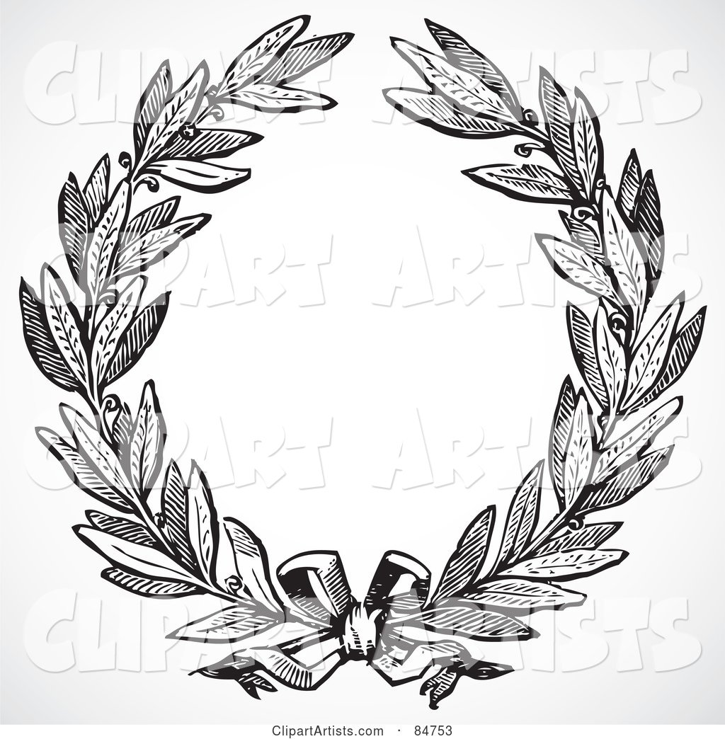 White leaf wreath clipart jpg royalty free stock Black And White Olive Leaf Wreath With A Ribbon Clipart by ... jpg royalty free stock