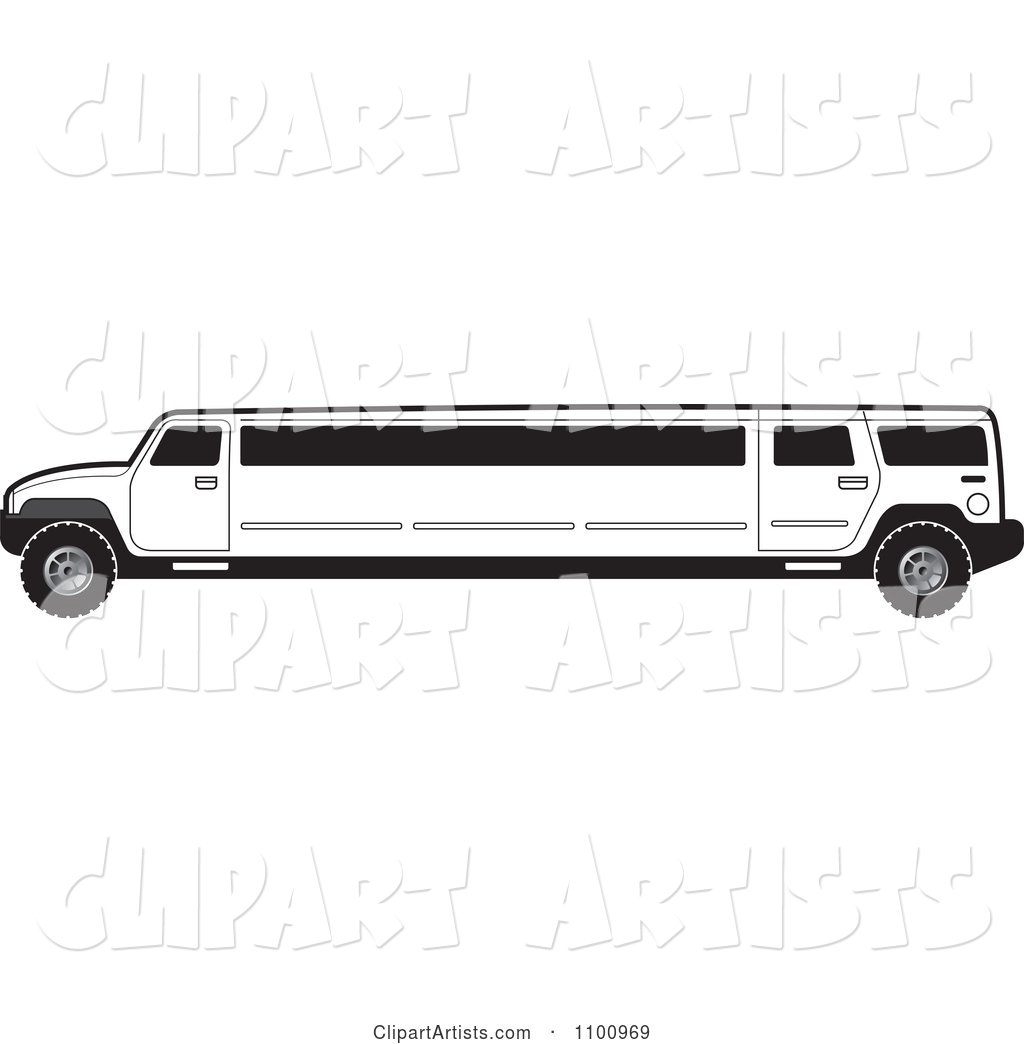 White limo clipart jpg freeuse stock Black And White Stretch Limo Hummer Clipart by Lal Perera ... jpg freeuse stock