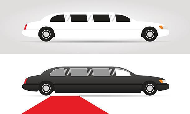 White limo clipart clip art library White limo and black limousine with red carpet. Vector ... clip art library