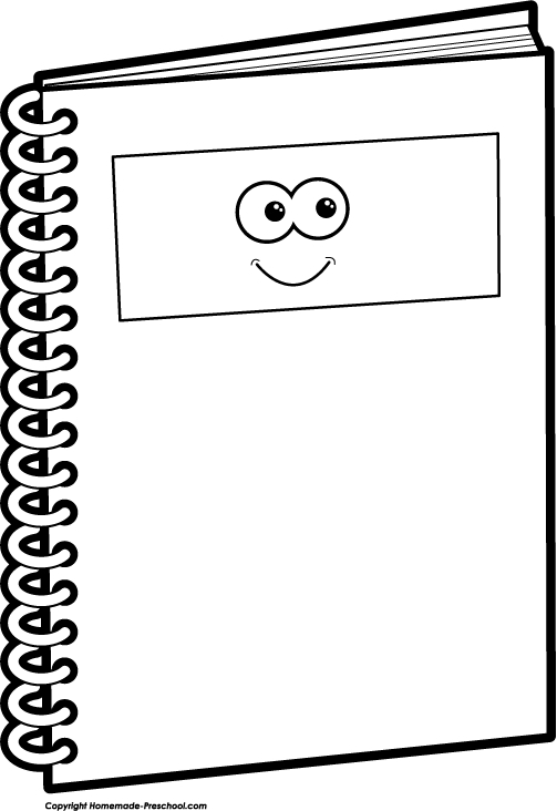 White notebook clipart vector library Open Notebook Clipart Black And White – Letters for Notebook ... vector library