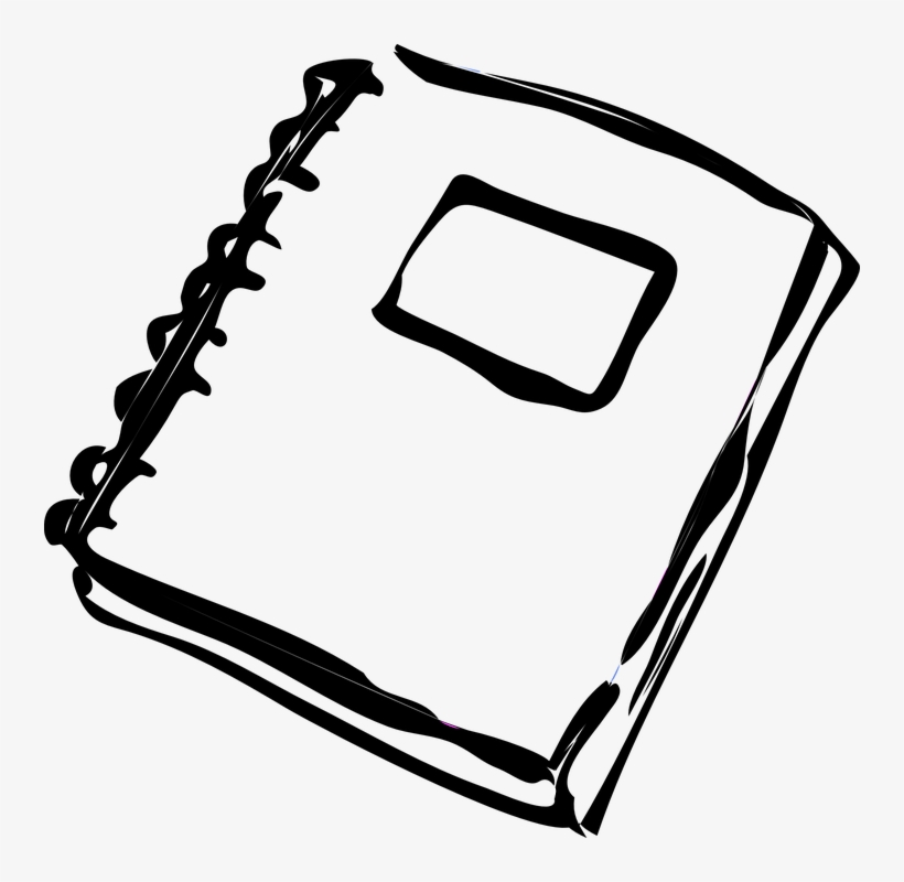 White notebook clipart graphic royalty free download Spiral Notebook - Homework Clip Art Black And White - Free ... graphic royalty free download