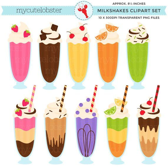 Milkshake images clipart svg transparent library Milkshakes Clipart - clip art set, milkshakes, drinks ... svg transparent library