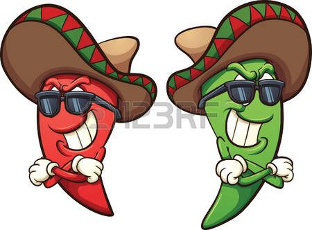 White pepper clipart banditos svg library library mexican: Mexican red and green chili peppers. Vector clip ... svg library library