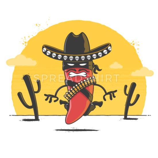 White pepper clipart banditos black and white download Chili Bandito Women\'s 3/4-Sleeve Shirt | Spreadshirt black and white download