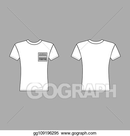 White pocket t shirt clipart clipart black and white stock Vector Illustration - T shirt man pocket template (front ... clipart black and white stock