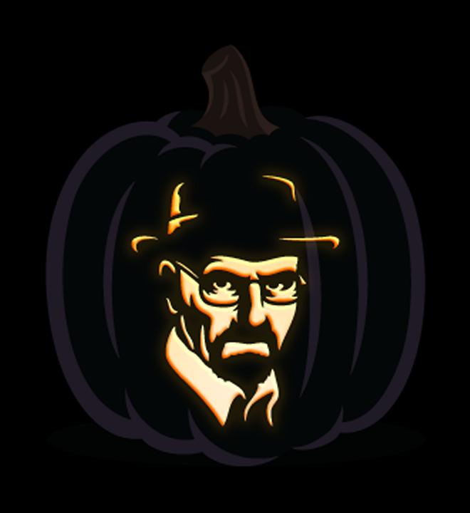 White pumpkin carving clipart clip art free Walter White Jack-O-Lantern Stencil : breakingbad clip art free