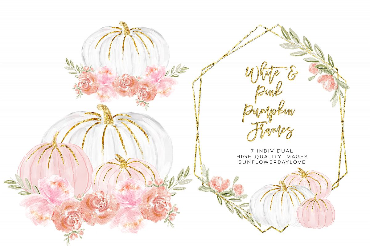White pumpkin floral clipart vector royalty free library Watercolor Floral Frame Clipart, White and Pink Pumpkins vector royalty free library