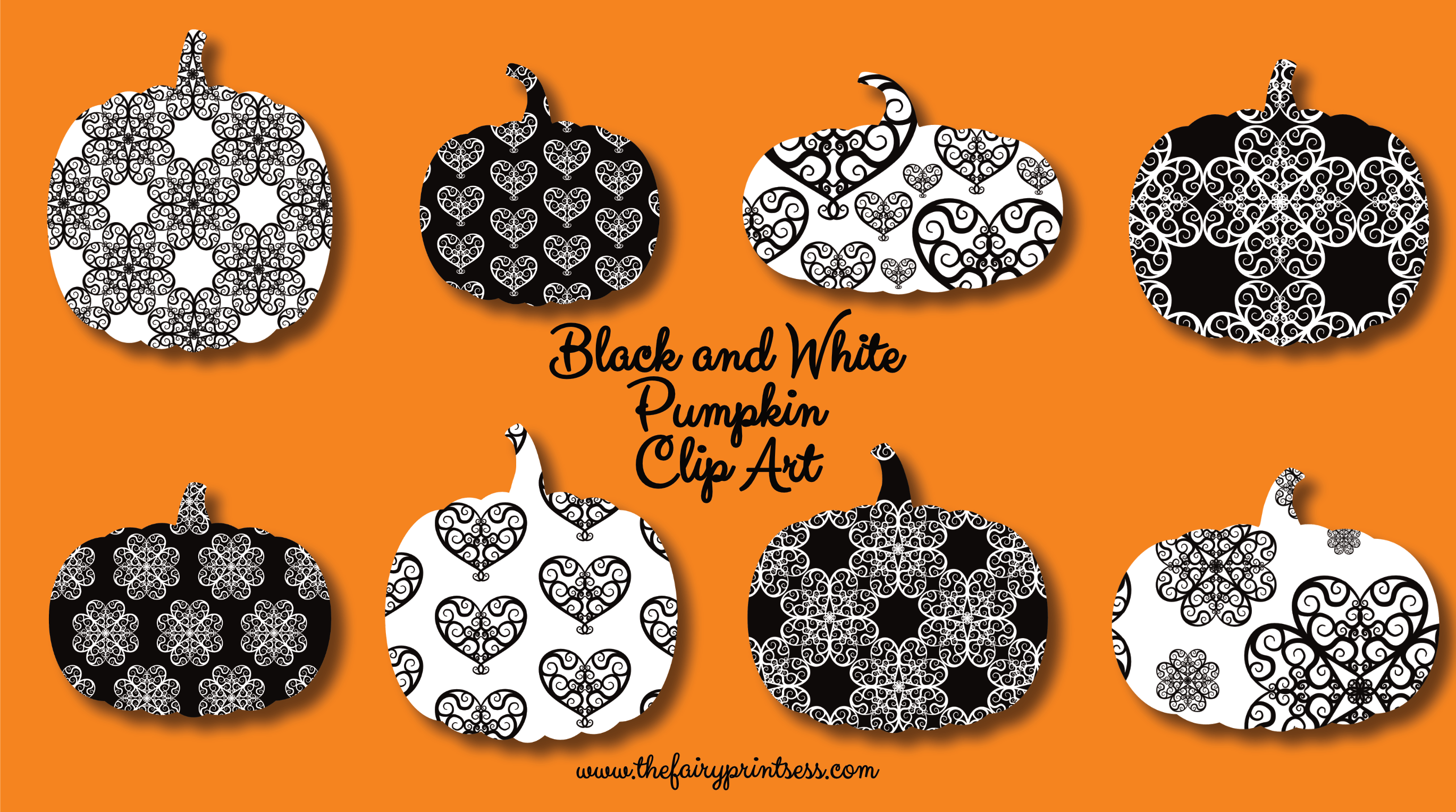 White pumpkin floral clipart graphic black and white stock Black and White Pumpkin Clip Art - Fancy Flourishes! graphic black and white stock