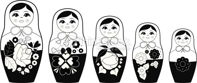 White russians clipart clipart royalty free Black & white vector illustration of russian nesting dolls ... clipart royalty free