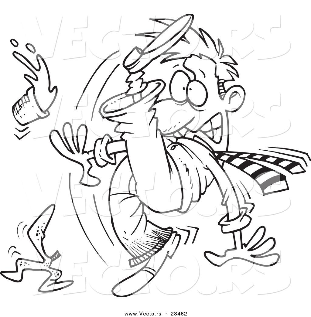 White slip clipart banner black and white stock Cartoon Vector of Cartoon Businessman Slipping - Coloring ... banner black and white stock