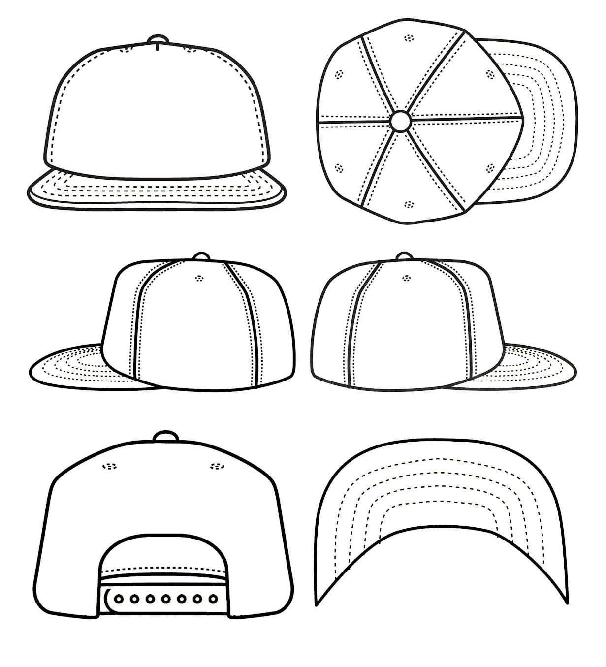 White snapback hat clipart picture library download Best Photos of Blank Snapback Stencil - Snapback Hat ... picture library download