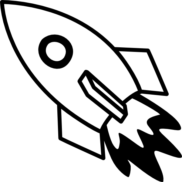 White spaceship clipart jpg royalty free Black And White Rocket Fire Clip Art at Clker.com - vector ... jpg royalty free