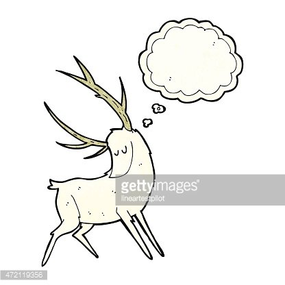 White stag clipart clip art black and white download Cartoon White Stag With Thought Bubble premium clipart ... clip art black and white download