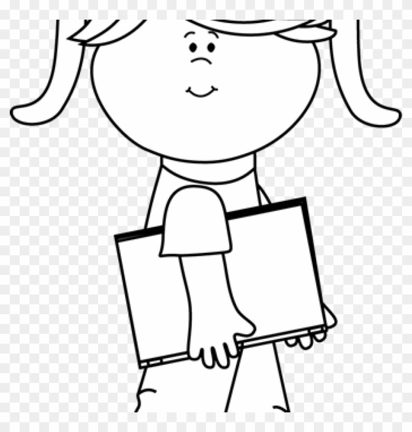 White student clipart jpg stock Girl Clipart Black And White Clip Art Black And White ... jpg stock