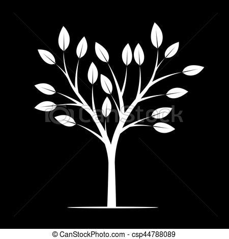 White tree black background clipart banner black and white White Tree on black background. Vector Illustration. banner black and white