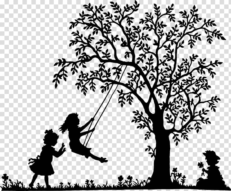 White tree black background clipart graphic black and white stock Swing Tree , Black and white tree swing kids transparent ... graphic black and white stock