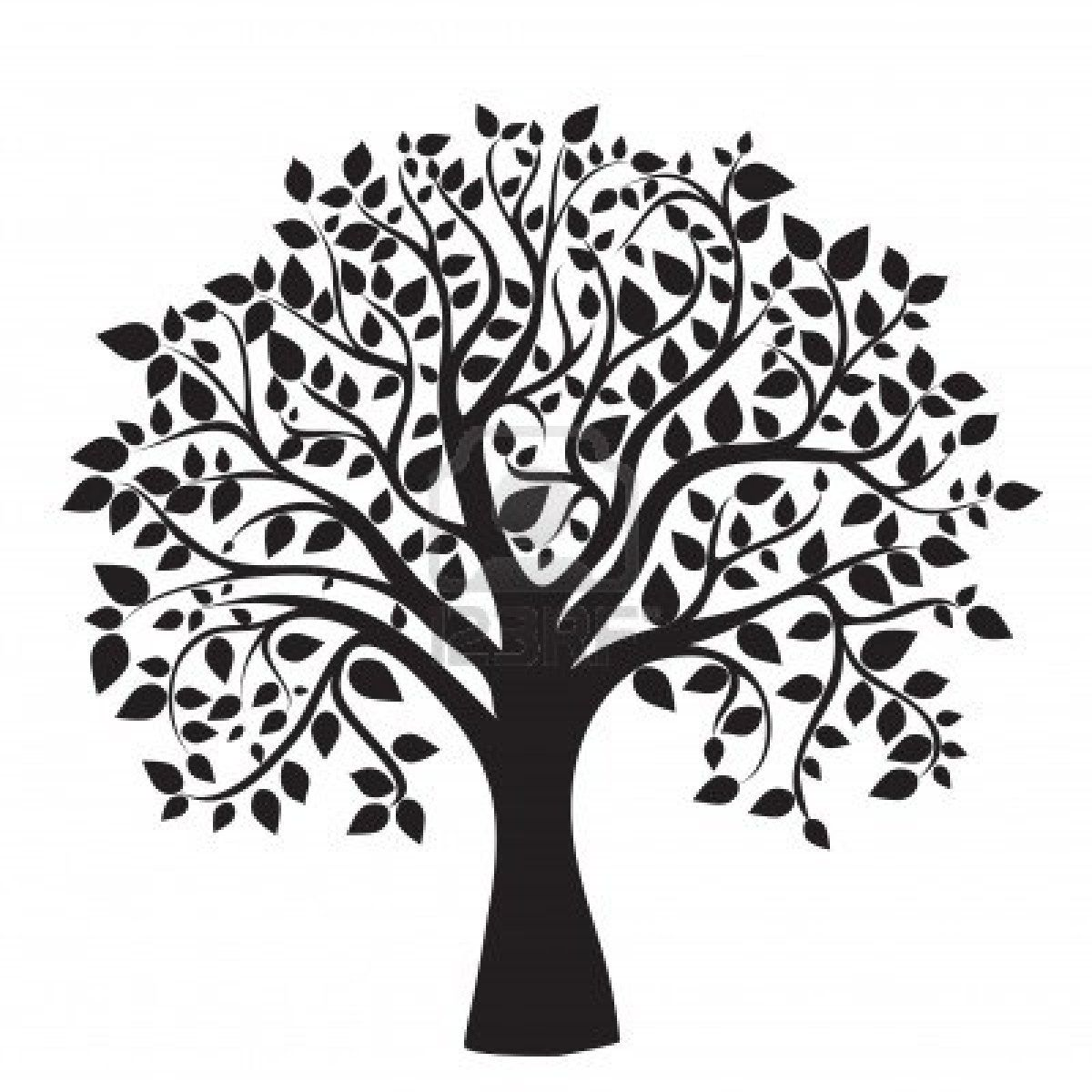 Major oak leaf clipart black and white jpg transparent download Stock Photo | Craft Ideas | Oak tree silhouette, Tree of ... jpg transparent download