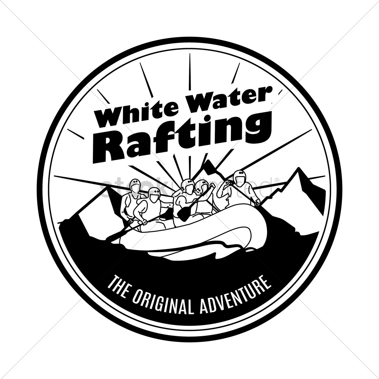 White water logo clipart image black and white library White water rafting label Vector Image - 1624070 | StockUnlimited image black and white library