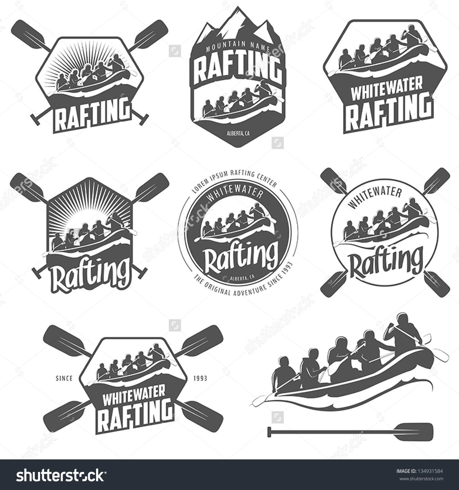 White water logo clipart png stock Set Vintage Whitewater Rafting Logo Labels Stock Vector 134931584 ... png stock