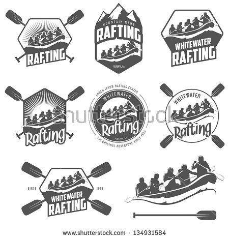 White water logo clipart banner black and white library Set Vintage Whitewater Rafting Logo Labels Stock Vector 134931584 ... banner black and white library