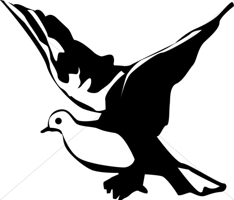 White winged dove clipart black and white picture freeuse library Winged Black and White Dove Clipart | Dove Clipart picture freeuse library