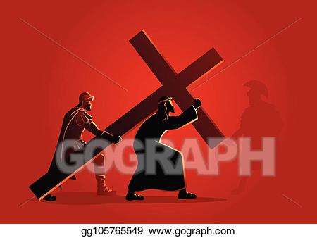 Who accepts clipart banner royalty free Vector Illustration - Jesus accepts his cross. EPS Clipart ... banner royalty free