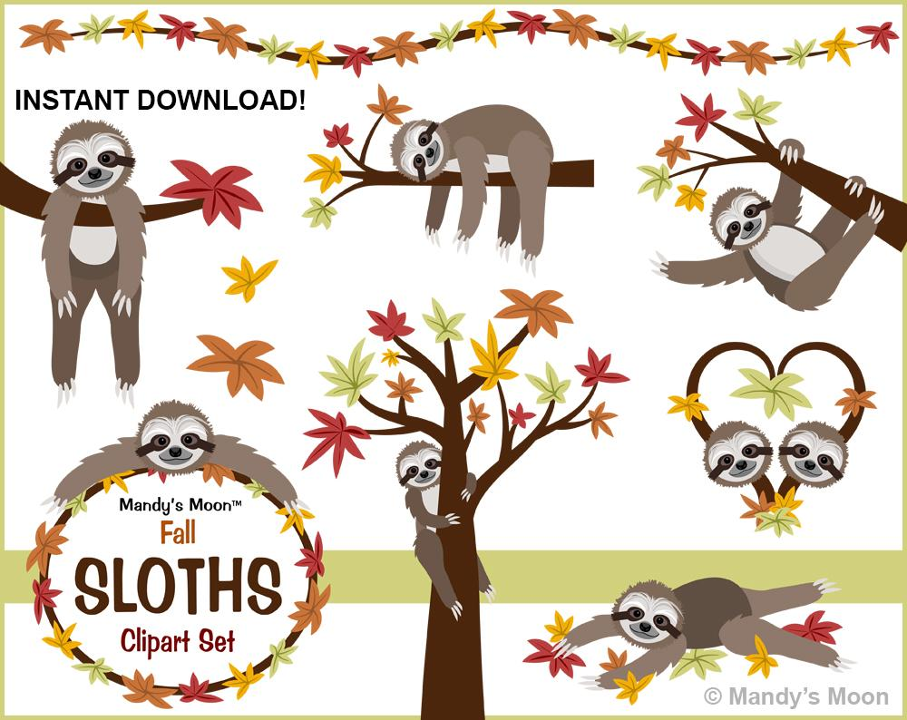 Who accepts clipart clip freeuse library Sloths Fall Clipart Set (Personal & Nonprofit Use only) clip freeuse library