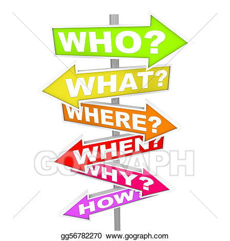 Who what when clipart vector black and white download Clip Art - Questions on arrow signs - who what where when ... vector black and white download