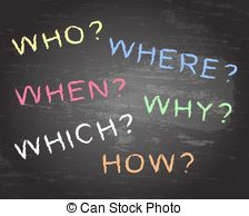 Who what when clipart banner transparent Who what when where why and how on blackboard Vector Clipart ... banner transparent