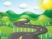 Wide and narrow clipart png library Clip Art of A very narrow curve road k14783999 - Search Clipart ... png library