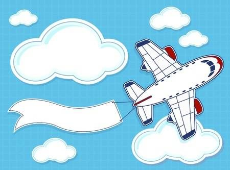 Wide banners clipart plane themes graphic freeuse library Stock Vector | party ideas | Blank banner, Airplane humor ... graphic freeuse library