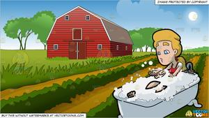 Wide barn clipart clip art black and white library A Woman Blowing Bath Bubbles In The Tub and Farm Field And ... clip art black and white library