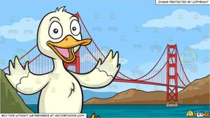 Wide bridge clipart banner library library A Happy Duck and The Golden Gate Bridge Background banner library library