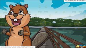 Wide bridge clipart picture freeuse Eager Beaver and Bridge Leading To An Island Background picture freeuse