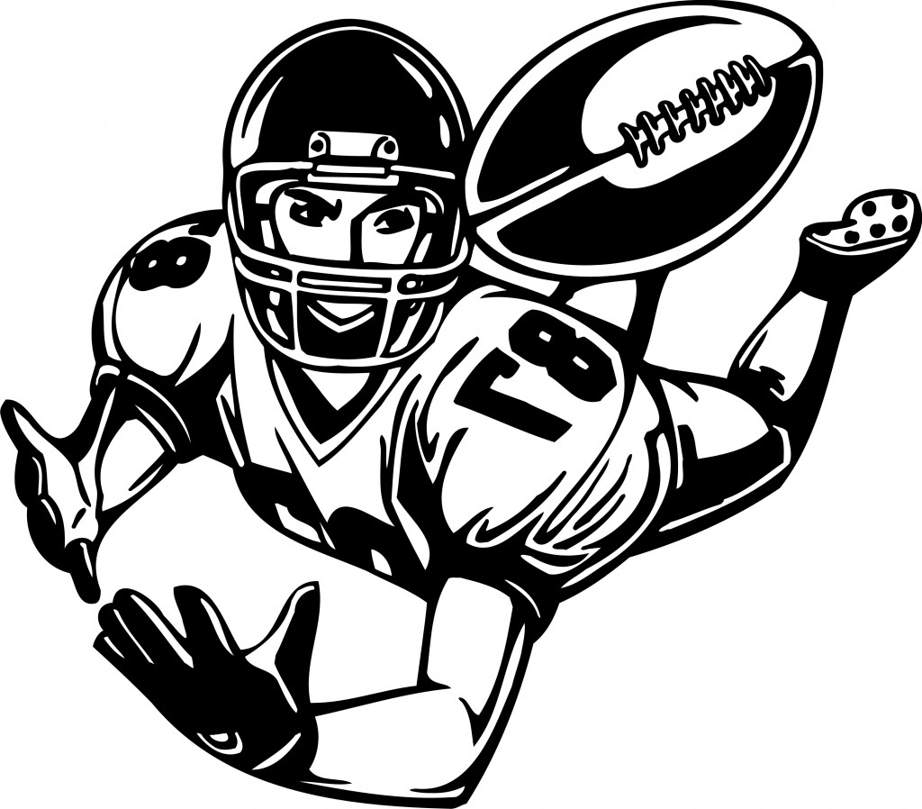 Wide recieer player clipart free clipart library stock Best Football Player Clipart Black And White #21007 ... clipart library stock