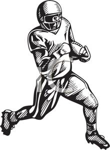 Wide recieer player clipart free jpg transparent download A Black and White Cartoon of a Wide Receiver Running with ... jpg transparent download