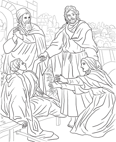 Widows and jesus clipart jpg freeuse stock Jesus Raises Widow\'s Son coloring page | Free Printable ... jpg freeuse stock