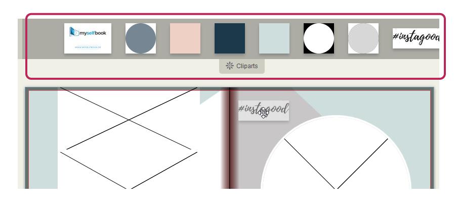 Wie fuge ich cliparts ein clip art Myselfbook - On-line Designer – ANLEITUNG clip art
