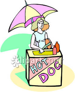 Wieners on a stick clipart clip art royalty free download Woman Selling Hot Dogs - Royalty Free Clipart Picture clip art royalty free download