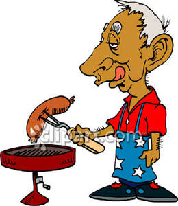 Wieners on a stick clipart png transparent stock Man Grilling Hot Dogs on the Fourth of July - Royalty Free ... png transparent stock